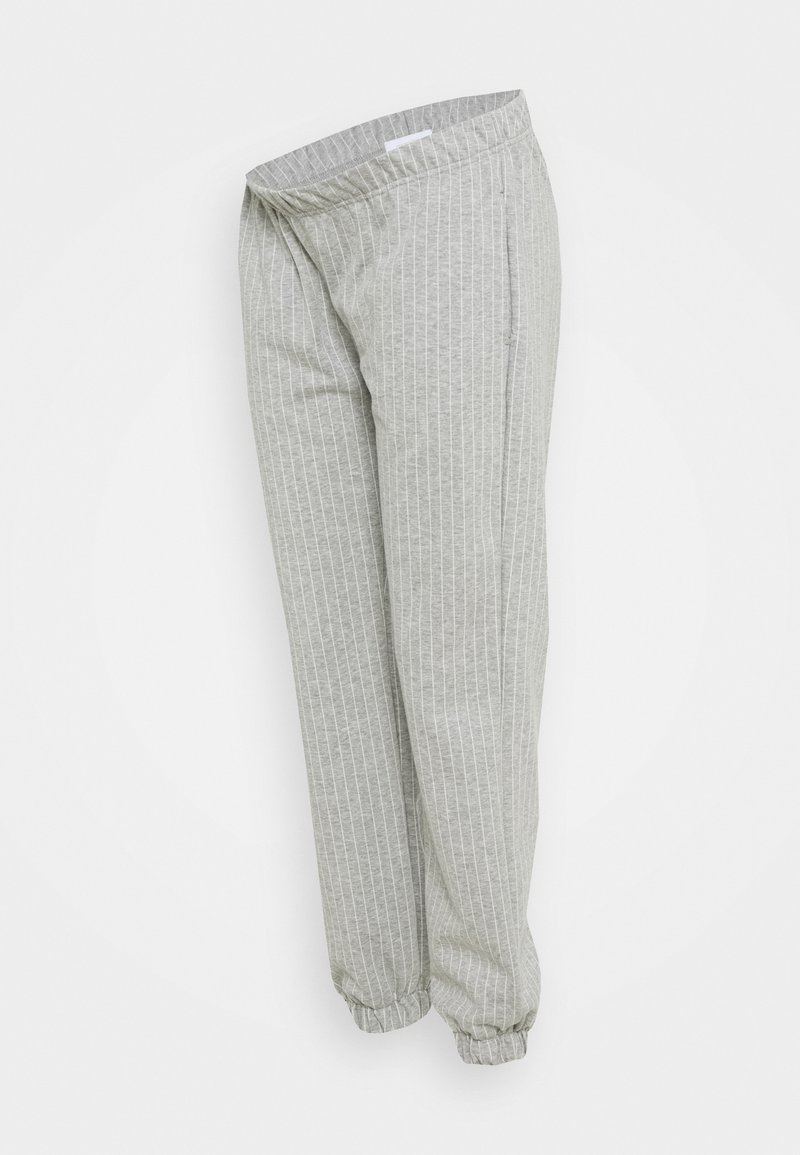 MAMALICIOUS - MLNICOLE PANTS - Tracksuit bottoms - light grey melange/white