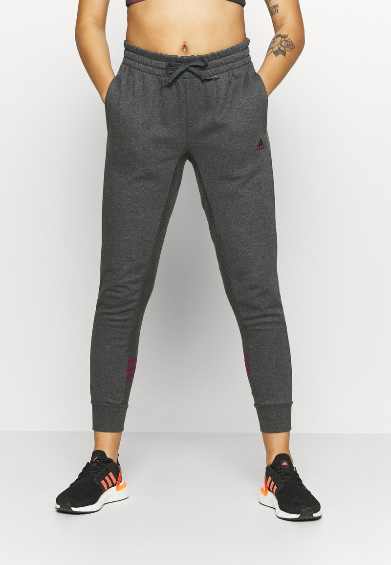 adidas Performance - Tracksuit bottoms - mottled dark grey