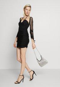 Club L London - BARDOT TIE FRONT RUCHED MINI DRESS - Day dress - black - 1