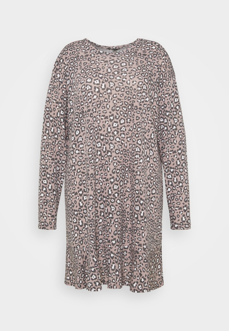New Look Curves - ANIMAL FRILL DRESS - Day dress - brown