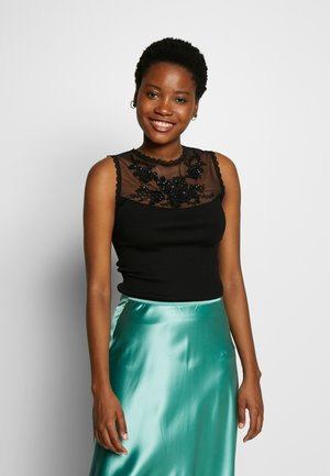 SILK-MIX TOP REGULAR W/EMBELLISHMENT - Top - black