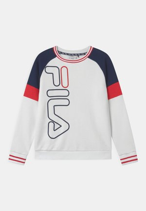 JUNES STRIPED SPORTY CREW  - Sweatshirt - bright white/black iris/true red