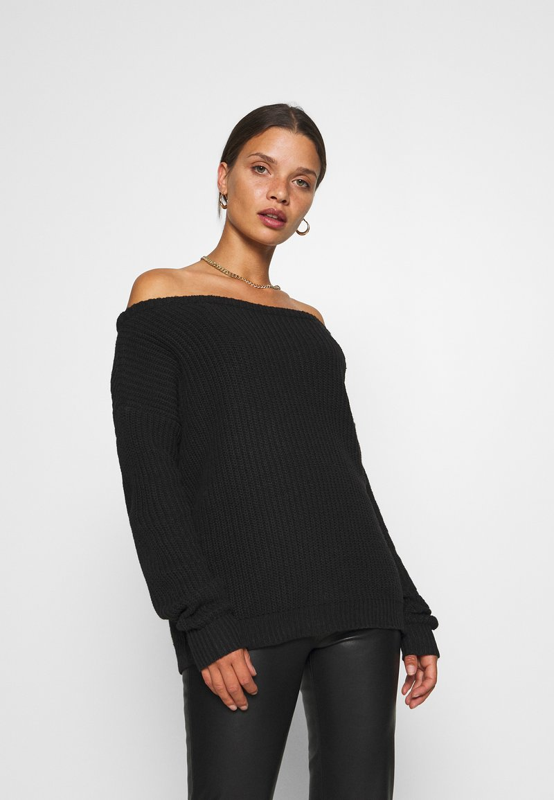 Missguided Petite - OPHELITA OFF SHOULDER JUMPER - Jumper - black