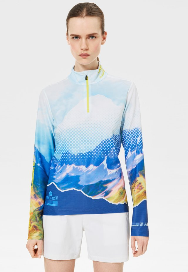 Long sleeved top - white/blue/yellow