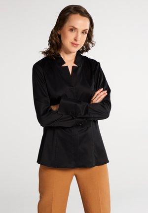 FITTED WAIST - Button-down blouse - schwarz