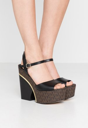 LANA WEDGE - Sandalias de tacón - black/brown