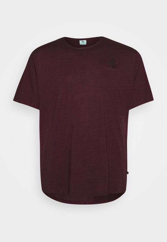 RAW EDGE TEE SPEZIAL - T-shirt - bas - bordeaux