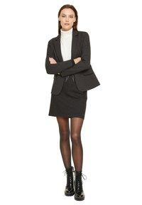comma casual identity - MIT HERRINGBONE-MUSTER - A-line skirt - black heringbone - 1
