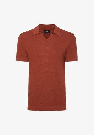 WE FASHION HEREN POLOSHIRT VAN LINNENMIX - Poloshirt - rust brown