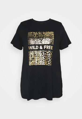 WILD AND FREE FOIL PRINT - Triko spotiskem - black