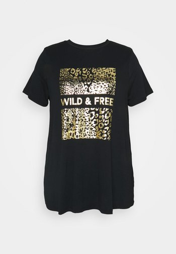WILD AND FREE FOIL PRINT - Print T-shirt - black