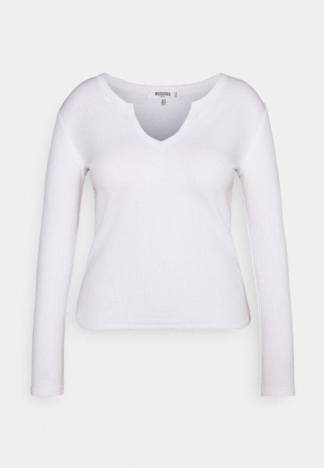 NOTCH NECK TEE 2 PACK - Longsleeve - white