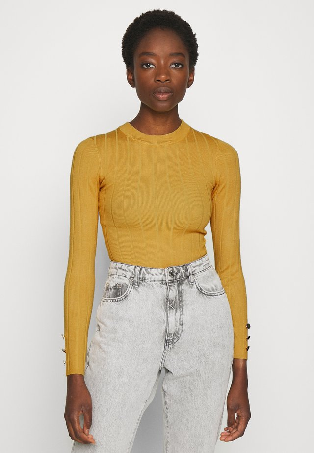 BUTTON CUFF CREW NECK - Pullover - mustard