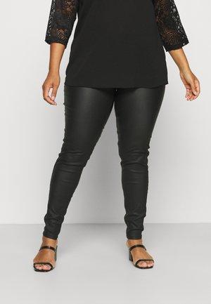 NMCALLIE COATED PANTS - Trousers - black