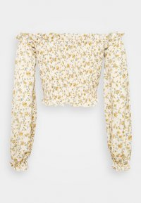 Missguided Tall - FLORAL FRILL DETAIL SHIRRED CROP  - Blouse - cream - 1