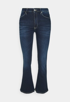 MANDY - Flared Jeans - yellow/blue denim