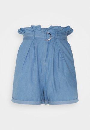 CHAMBRAY PAPERBAG WAIST - Shorts - blue