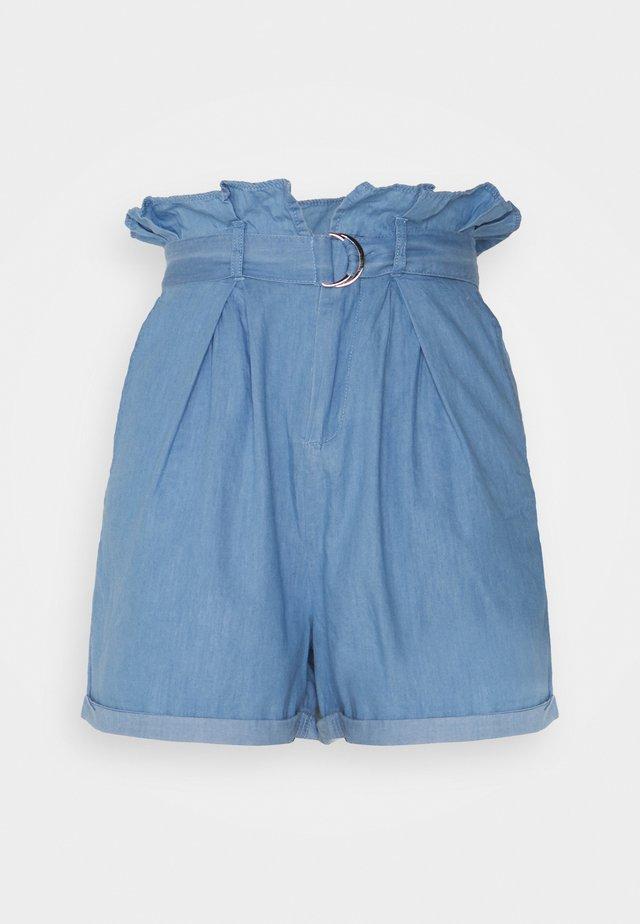 CHAMBRAY PAPERBAG WAIST - Short - blue