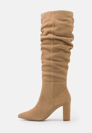 LEATHER - High heeled boots - beige