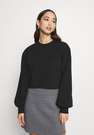 VOLUME SLEEVE CROP - Mikina - black