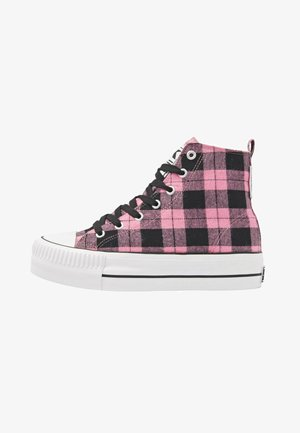 Korkeavartiset tennarit - pink checker