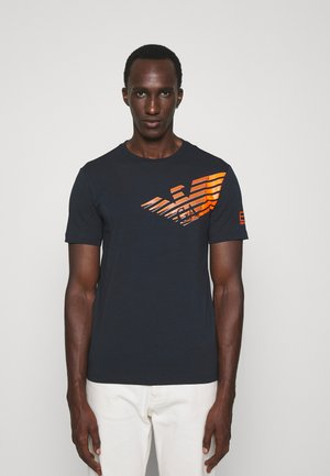 Print T-shirt - dark blue/orange