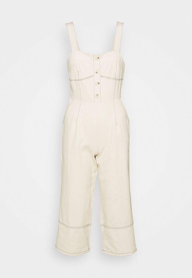 WIDE LEG BUTTON STITCH DETAIL - Tuta jumpsuit - cream