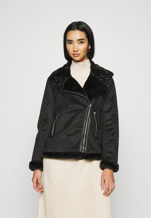 ONLMARIA AVIATOR - Faux leather jacket - black