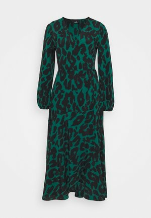 GRAPHIC ANIMAL WRAP DRESS - Day dress - green