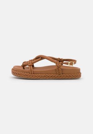 ELODIE - T-bar sandals - tan