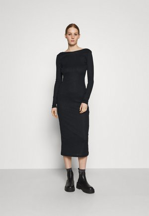 DEEP BACK MIDI DRESS - Etuikjole - black