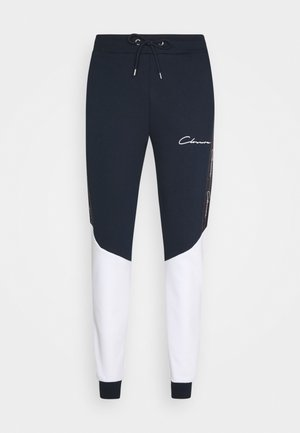 CONTRAST JOGGER WITH TAPING - Tracksuit bottoms - navy