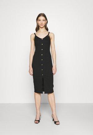 DECAL BUTTON MIDI - Denní šaty - black