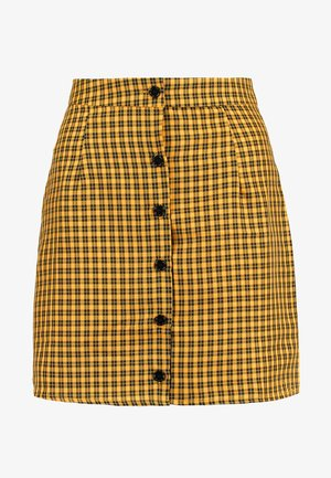 CHECK BUTTON FRONT A LINE SKIRT - A-line skirt - yellow