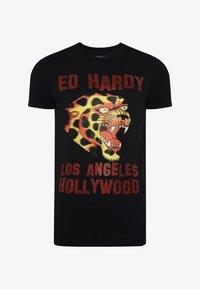 Ed Hardy - LA-CHEETAH T-SHIRT - Print T-shirt - black - 2