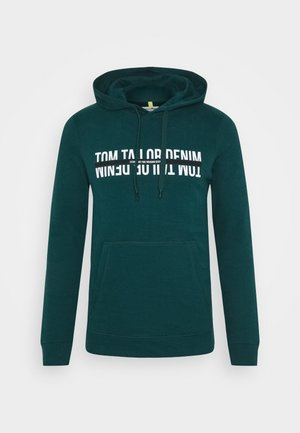HOODY WITH WORDING - Mikina s kapucí - deep green lake