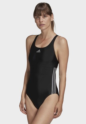 GLAM-ON SHINY 3-STRIPES SWIMSUIT - Swimsuit - black
