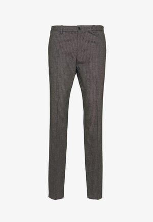 HERRINGBONE SLIM FIT PANTS - Pantalones - black