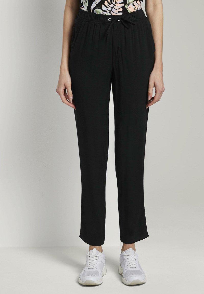 TOM TAILOR DENIM - Trousers - deep black