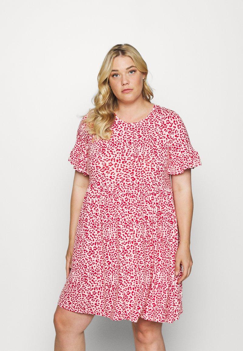 Simply Be - FRILL SLEEVE SMOCK DRESS - Jersey dress - pink