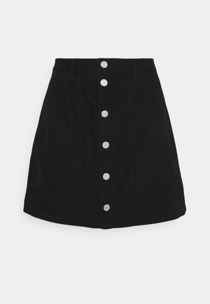 BADGE BUTTON THROUGH SKIRT - Minigonna - black