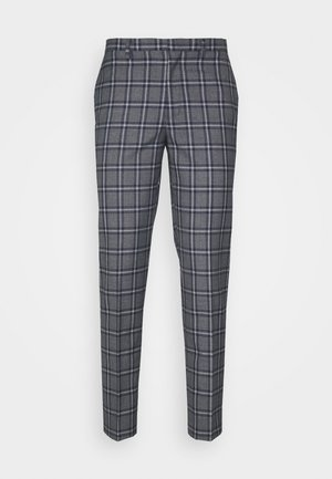 GREY NAVY TARTAN TROUSERS - Pantalon de costume - grey