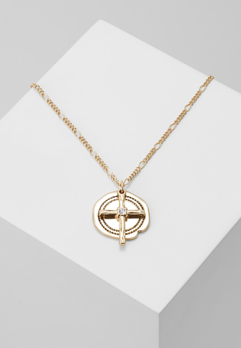 Topman - COIN CROSS - Necklace - gold-coloured