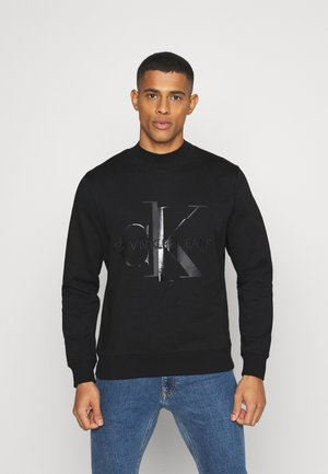 SHINY MONOGRAM CREW NECK UNISEX - Felpa - black