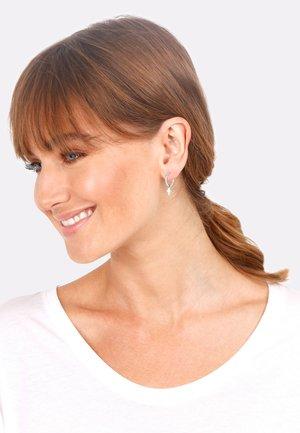 HOOPS MINIMAL CROSS - Earrings - silber