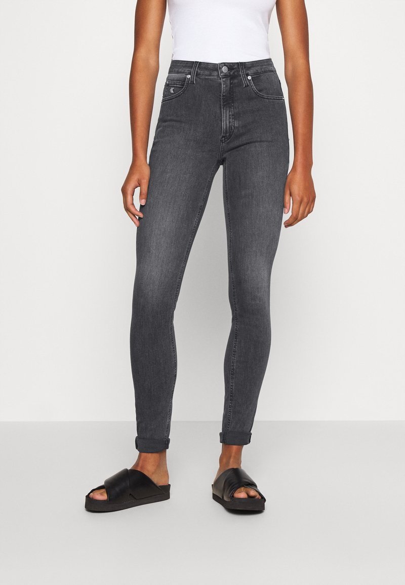 Calvin Klein Jeans - HIGH RISE SKINNY - Jeansy Skinny Fit - grey