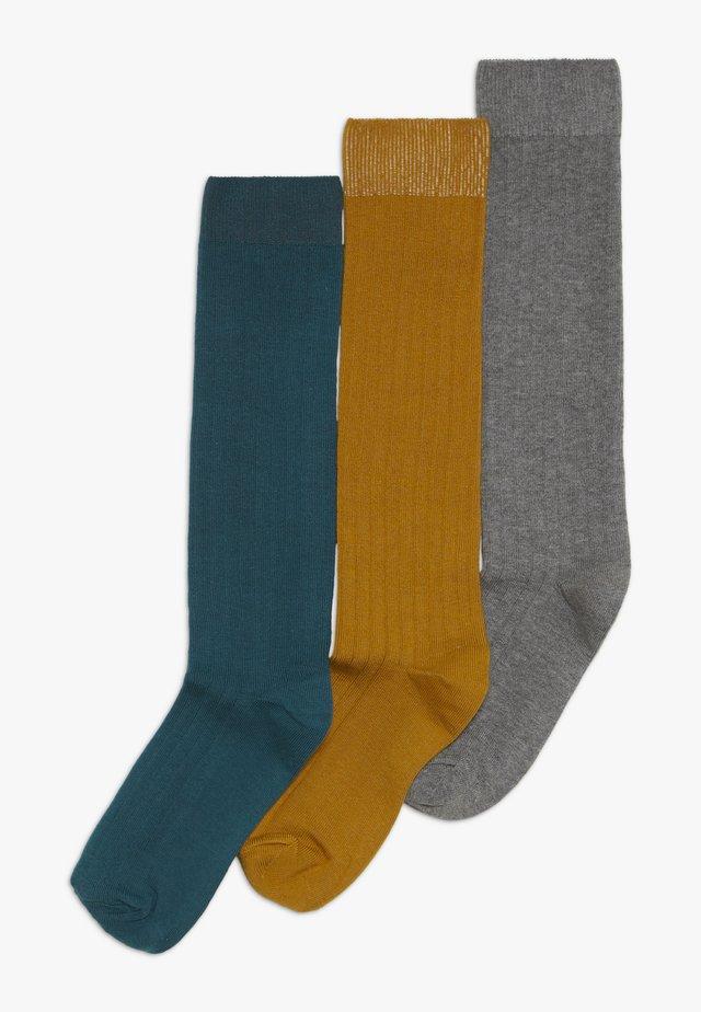 3 PACK  - Knee high socks - grau/honig/jade