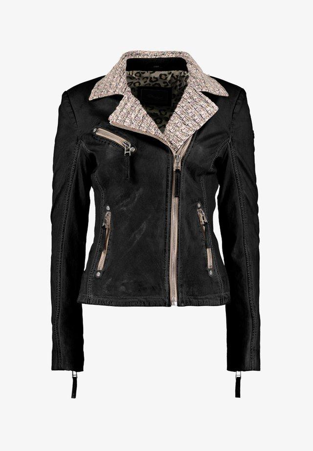MIT STRICKELEMENTEN UND KONTRASTVERARBEITUNG - Leather jacket - black