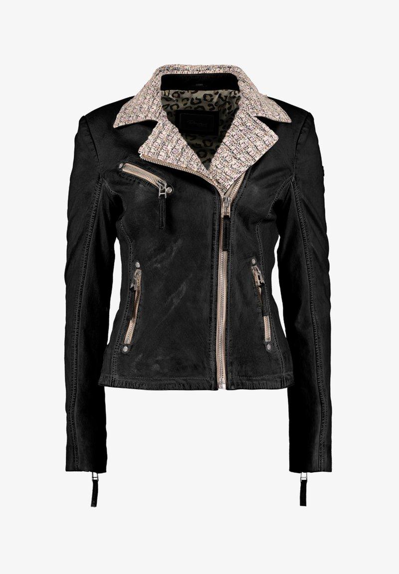 DNR Jackets - MIT STRICKELEMENTEN UND KONTRASTVERARBEITUNG - Leather jacket - black