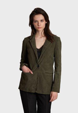 MEGA - Leather jacket - khaki
